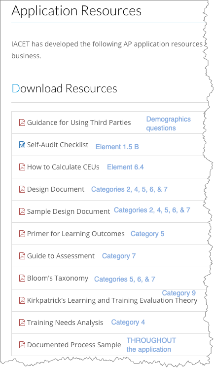 Screenshot of application resources
