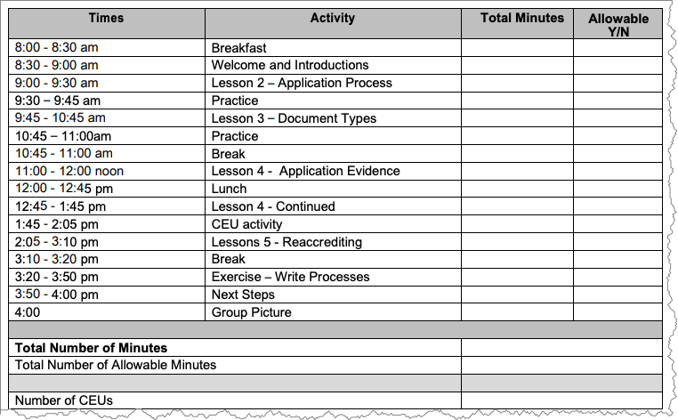 Screenshot of worksheet that displays the schedule for a class