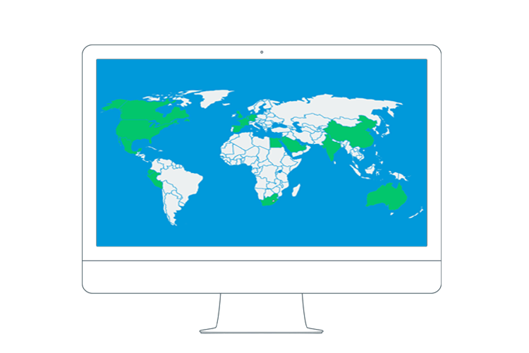World map with countries having IACET providers highlighted in green.