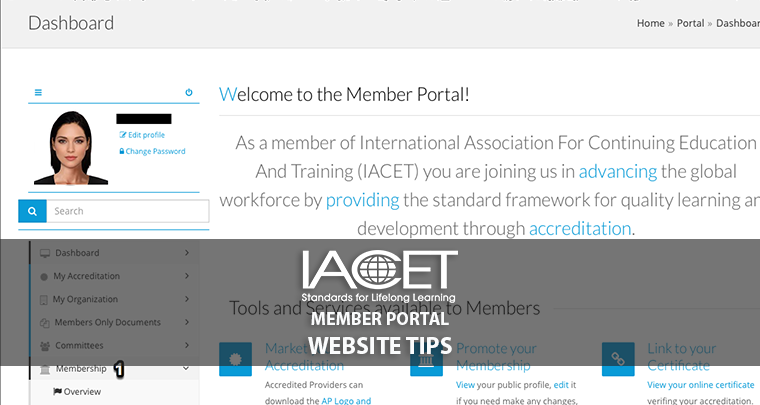 Your IACET Dashboard image